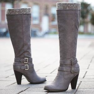 Women's gray heeled boots